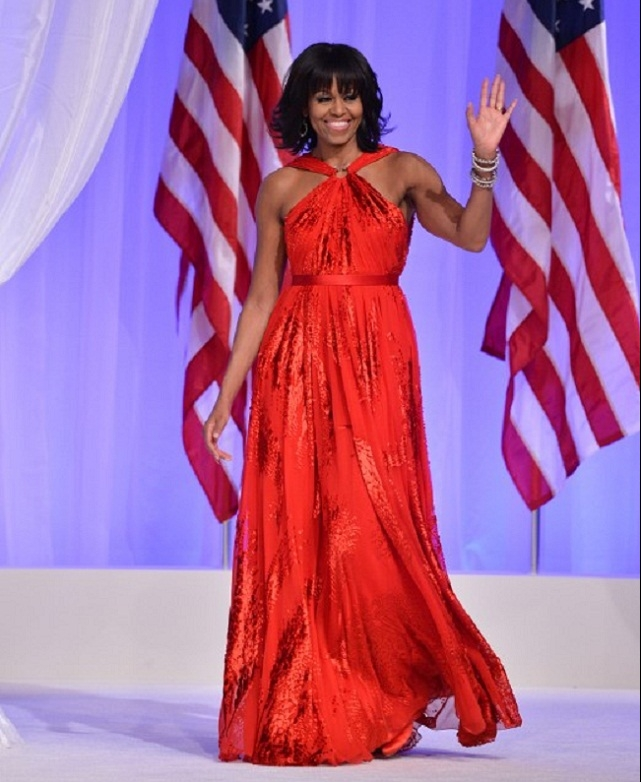 Michelle Obama wore a a ruby-colored chiffon and velvet gown by Jason Wu for 2013 Presidential  inauguration.