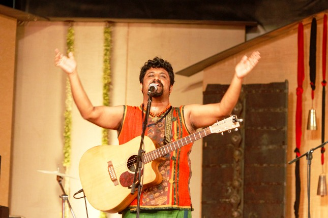 Singer Raghu Dixit performs during the Mahashivarathri celebrations at the Isha Yoga Center in Coimbatore.