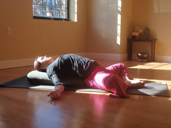 Yoga postures for Polycystic ovary syndrome : SuptaBadhakonasana