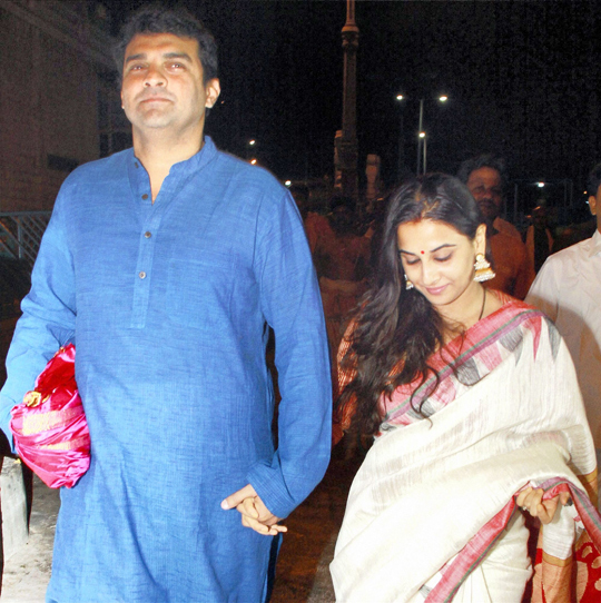 Vidya Balan with husband Siddharth Roy Kapoor coming out after visiting Lord Venkateswara temple, at Tirumala, in Tirupati, on 2nd March.