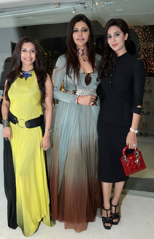 Sounia Gohil, luxury brand consultant and celebrity columnist Nisha Jamvwal and wine aficionado Shagun Gupta hosted  an evening of fashion and wine at the  designer's Mediterranean villa in Khar.  