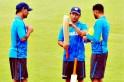 Mahendra Singh Dhoni, Sachin Tendulkar and Harbhajan Singh