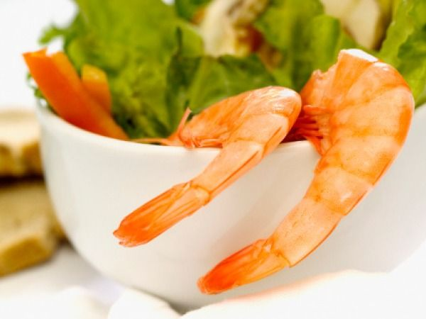"Shrimp - According to healthaliciousness.com, ""100 grams of shrimp will contain 195mg (65% daily value) of cholesterol. A single large shrimp contains 11mg (4% daily value) and an ounce of shrimp will provide around 55mg.