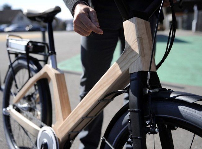 Photo taken on March 15, 2013 shows an electric wooden bicycle at the CRITT Bois (Regional Center of Innovation and Technology Transfer) in Epinal, eastern France. The prototype of the Velibois, the first wooden-electric utility bicycle, the conception of which took over four years, is in the final stages of completion.