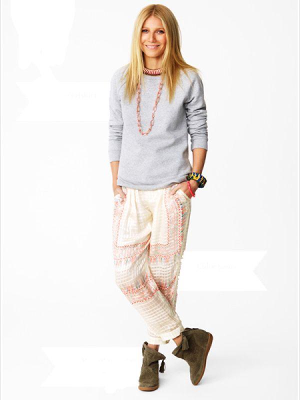 Silk for Slouching  Saint Laurent sweatshirt; Price: $687  Chloe pants; Price: $1,903  Philippe Audibert long chain; Price: $296  Isabel Marant short neckpiece; Price: $270  Lulu Frost bangles; Price: $423  Isabel Marant boots; Price: $647
