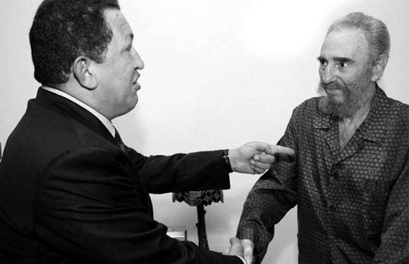 Chavez pays a visit to his longtime friend and mentor, Fidel Castro in Havana in 2006.