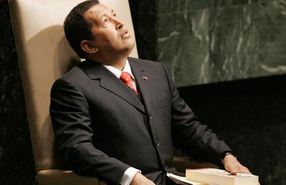 Hugo Chavez before his address to the United Nations General Assembly at the U.N. headquarters in New York.