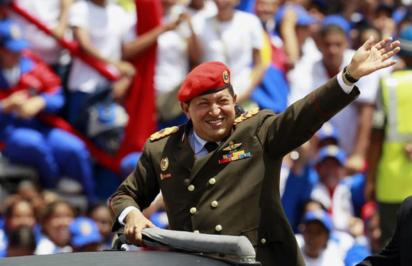 Chavez at a military parade commemorating 200 years of Venezuelan independence.