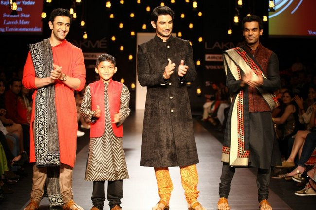 'Kai Po Che' trio Amit Sadh, Sushant Singh Rajput and Raj Kumar Yadav walked the ramp for Vikram Phadnis at the Lakme Fashion Week.
