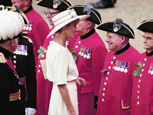Diana at the Founder's Day celebration of the Royal Hospital Chelsea in London.