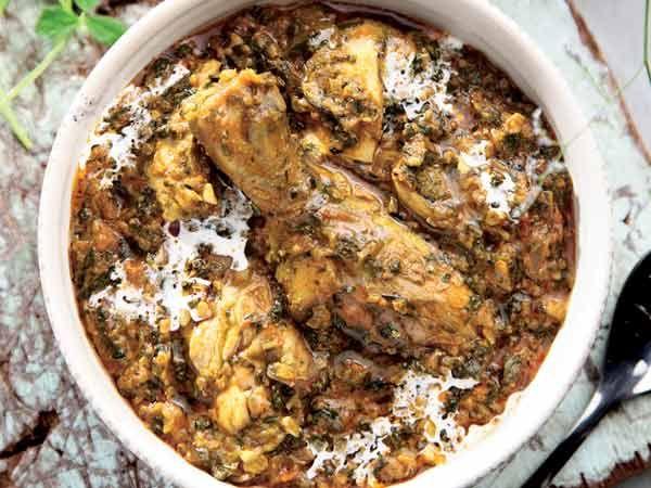 chicken dish with fresh fenugreek leaves