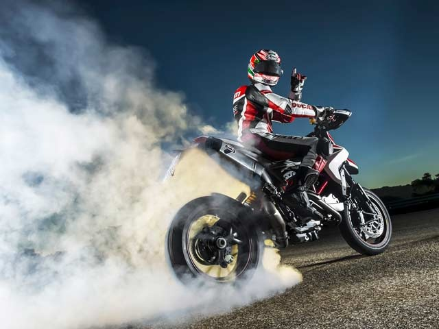 Nicky Hayden burning rubber on the 2013 Hypermotard SP