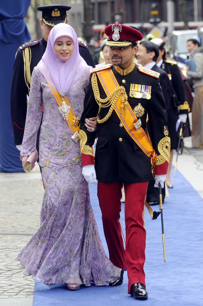 Crown Princess Sarah of Brunei balances tradition and fashion in this lavender gown.