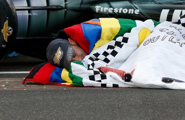 Tony Kanaan Celebrates Indianapolis 500 Win