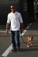 Lewis Hamilton with Roscoe