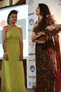 Shobha De felicitating Taneeshta Chaterjee