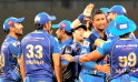Mumbai Indians celebrate their win over Chennai Super King during IPL 6 in Mumbai on Sunday.