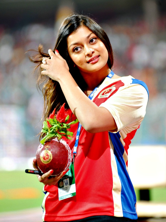 April 16, 2013: Kannada actress Soundarya during an IPL match at the Chinnaswamy Stadium in Bangalore. (Photo: BCCL)