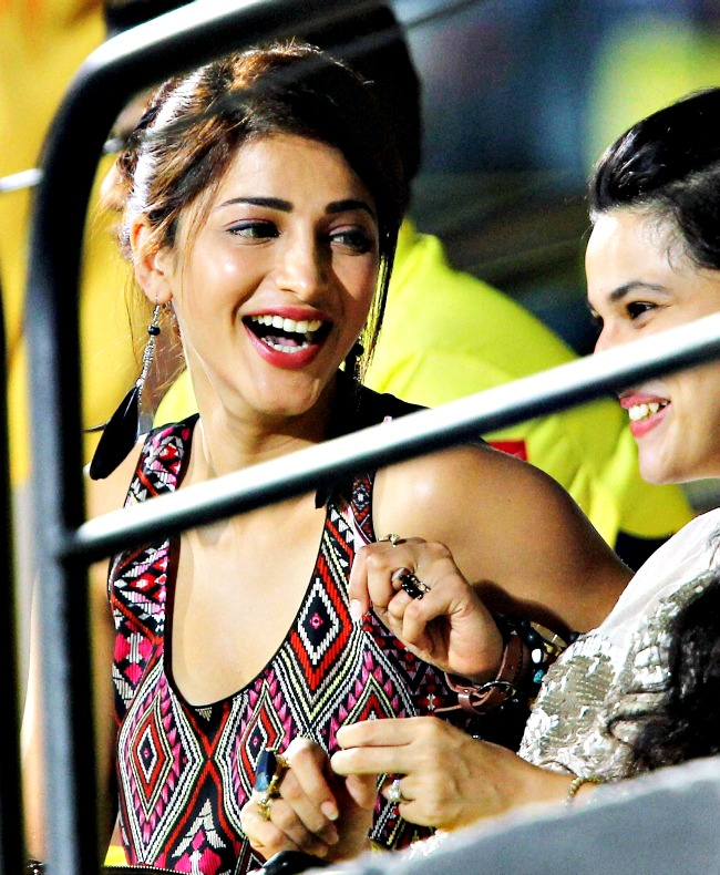 April 25, 2013: Actress Shruti Hassan during an IPL match at the Chidambaram Stadium in Chennai. (Photo: PTI)