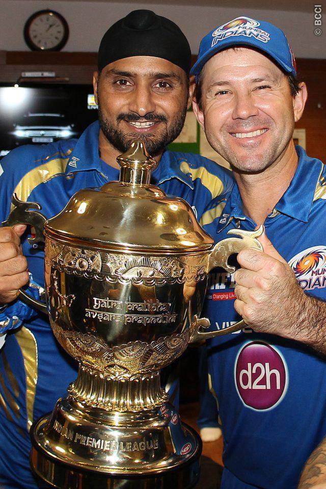 Harbhajan Singh with Ricky Ponting