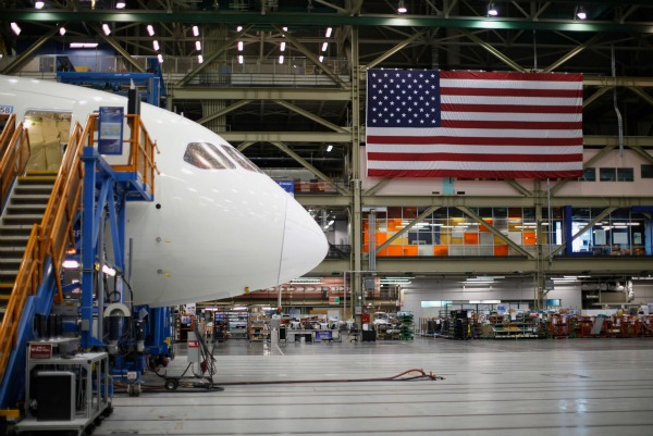 A Boeing 787 Dreamliner under construction at the Boeing facility in Everett, Washington. Photo: ReutersPhoto: Reuters