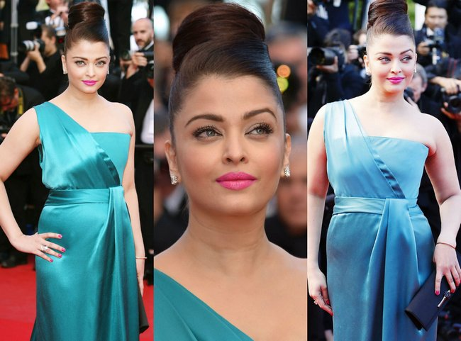 After donning a heavy Abu-Sandeep Anarkali for the red carpet, Aishwarya Rai Bachchan surprised the lenses with this silk blue one-shoulder Gucci gown.