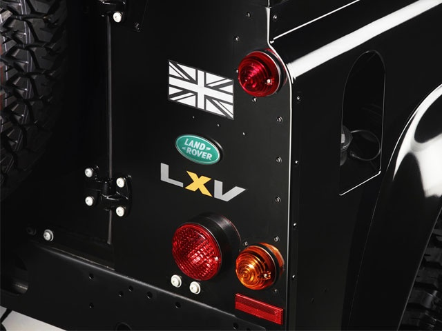 Trademark Defender lights with union flag decal at the rear
