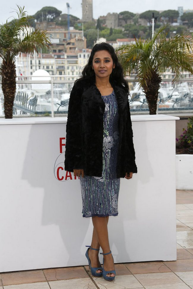 Actress Tannishtha Chatterjee was spotted in a sequin floral dress with taupe ankle strap pumps at the 66th Cannes Film Festival
