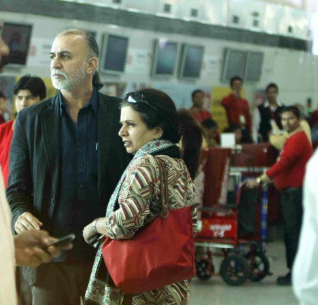 Tarun Tejpal at Delhi Airport: PICS