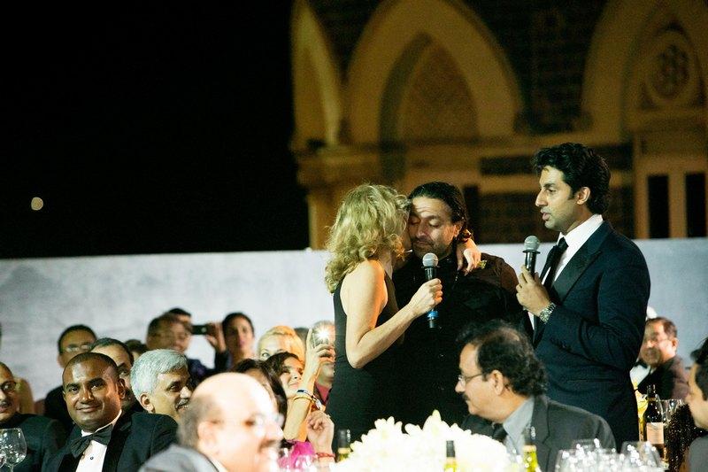Sharon Stone, Vikram Chatwal, Abhishek Bachchan