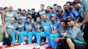 Team India posing after the series win