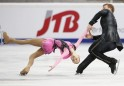 Antipova and Maisuradze of Russia perform during pairs free programme at the ISU Grand Prix of Figure Skating Rostelecom Cup in Moscow