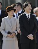 Japan's Prince Akishino and his wife Princess Kiko looks at a plane as they see Emperor Akihito and Empress Michiko off at Tokyo's Haneda airport