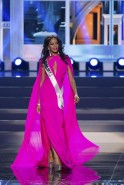 Lexi Wilson, Miss Bahamas 2013, competes in her evening gown during the preliminary competition at Crocus City Hall in Moscow