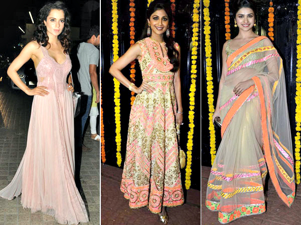 The festive season is here with a bang and everyone's busy dressing up in their best attires. We spotted Bollywood divas in gorgeous blingy saris and stunning anarkalis on the occasion of Diwali. Just by looking at their outfits, we're feeling festive! Check out some of our favourite festive outfits on Bollywood beauties here.