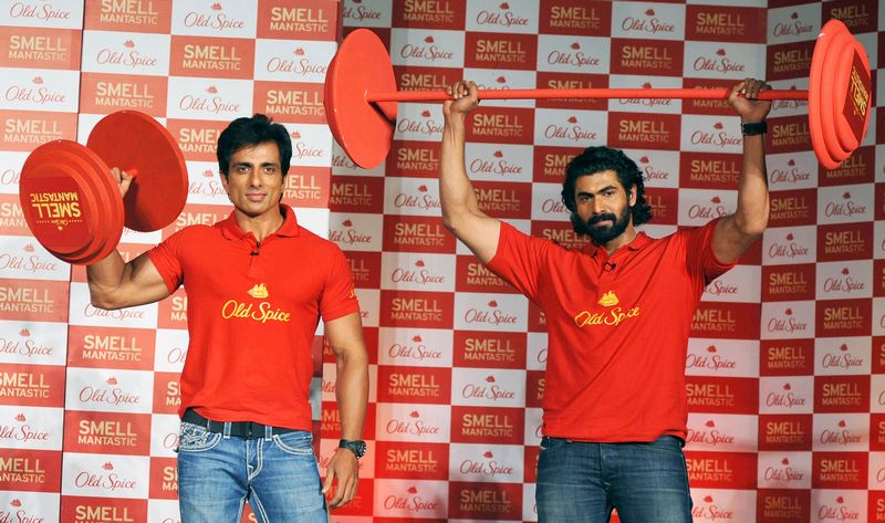 Sonu Sood and Rana Daggubati lift some weights to prove their masculinity. Photo: AFP