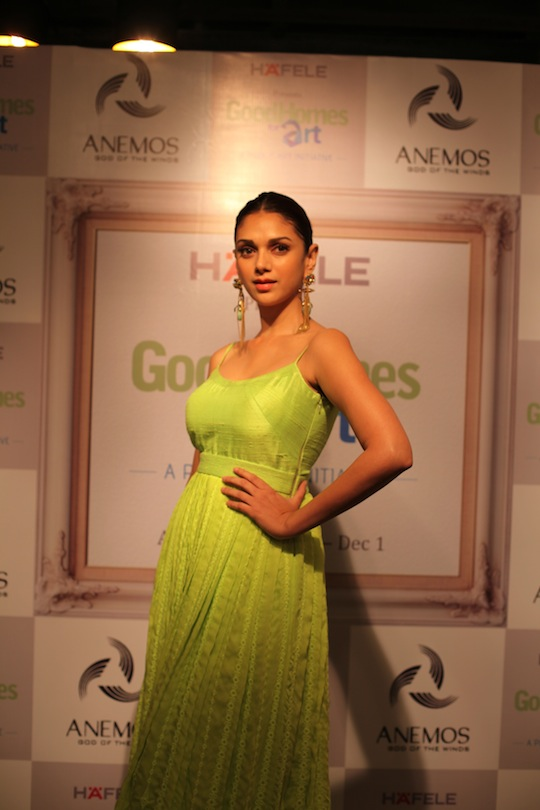 Stunning in yellow aditi rao hydari at art exhibition for Aditi indian cuisine