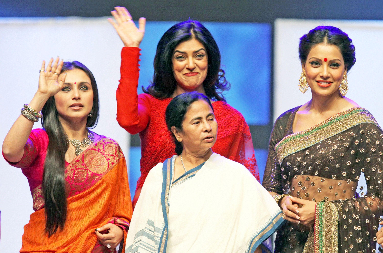 West Bengal Chief Minister Mamata Banerjee was flanked by Bollywood beauties Rani Mukerji (left), Sushmita Sen (centre) and Bipasha Basu (right) at the closing ceremony of the Kolkata film festival