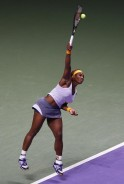 Williams of the U.S. serves during her WTA tennis championships final match against Li of China, in Istanbul
