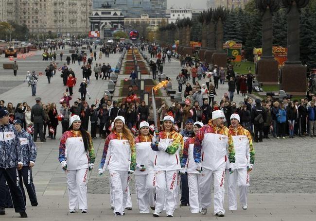 Olympic Torch Relay at Poklonnaya Gora War Memorial Park