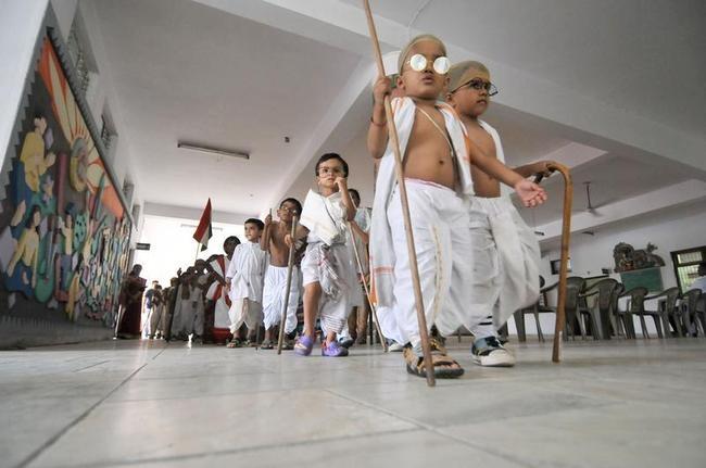 How Cute! Kids Dressed as Mahatma Gandhi