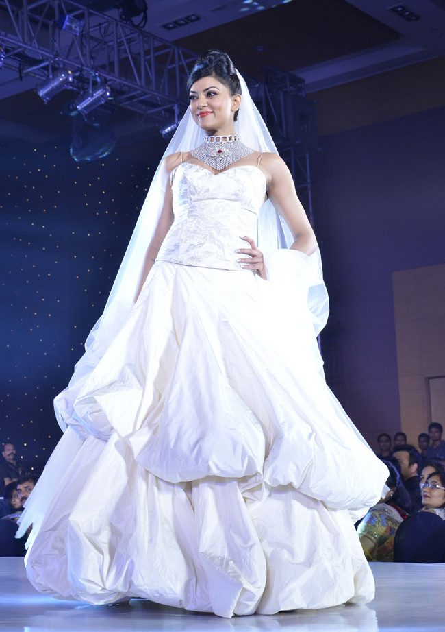Sushmita Sen donned a bridal look for the ramp.