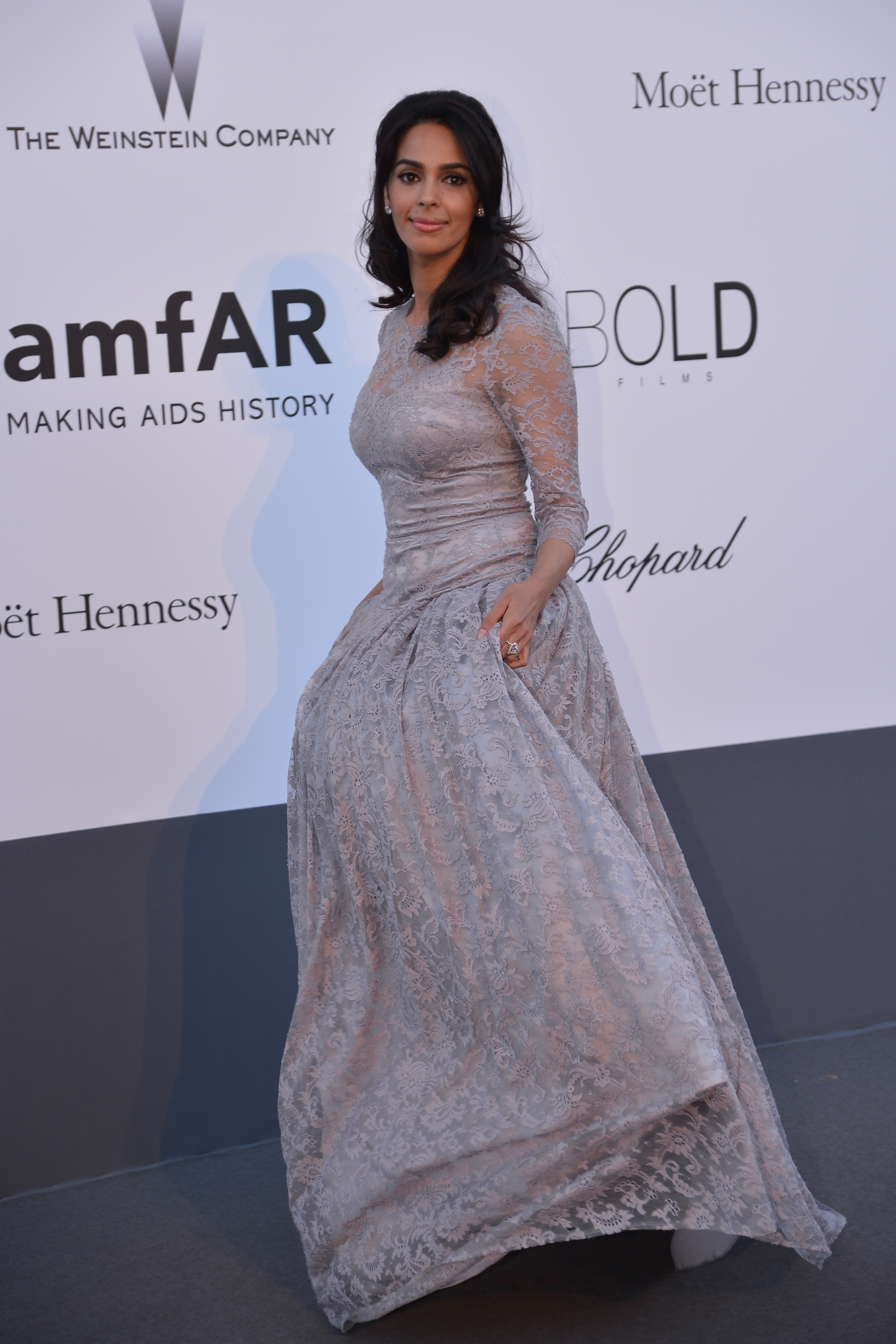 For the amfAR AIDS event at Cannes this year, Mallika chose a subtle Dolce & Gabbana gown.