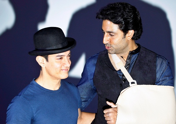 Aamir Khan and Abhishek Bachchan attended the trailer launch of Dhoom 3 on Wednesday. The trailer launch (watch it here) of the third film in the franchise was a keenly awaited affair. Photo: AP