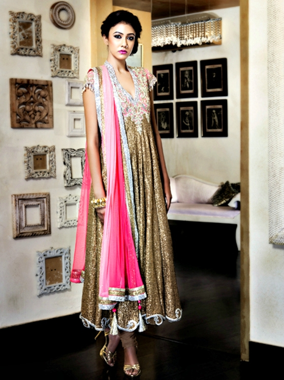 Golden sequined churidar kurti