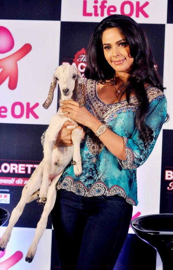 Mallika Sherawat with a goat