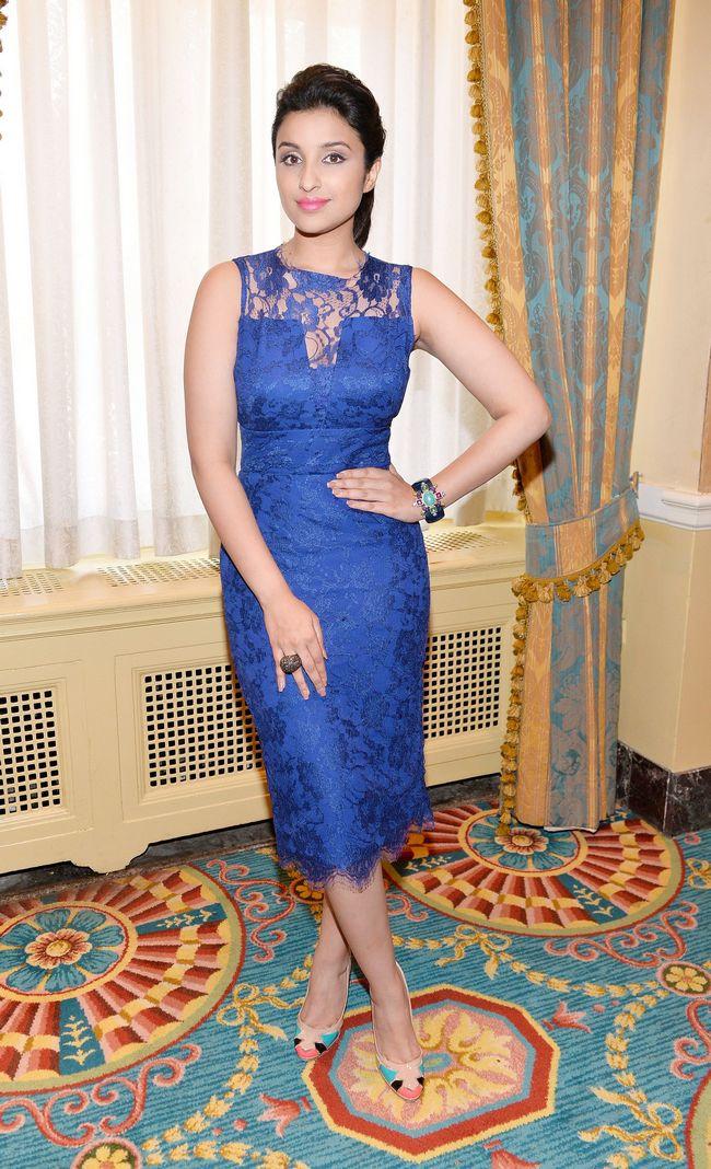 Parineeti Chopra looked cutesy when she wore a blue dress at Toronto Film Festival.