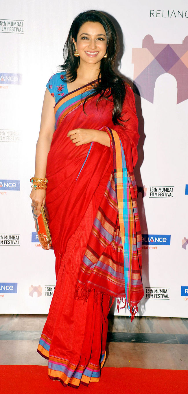 Tisca Chopra looked radiant in red at the festival. Photo: AFP