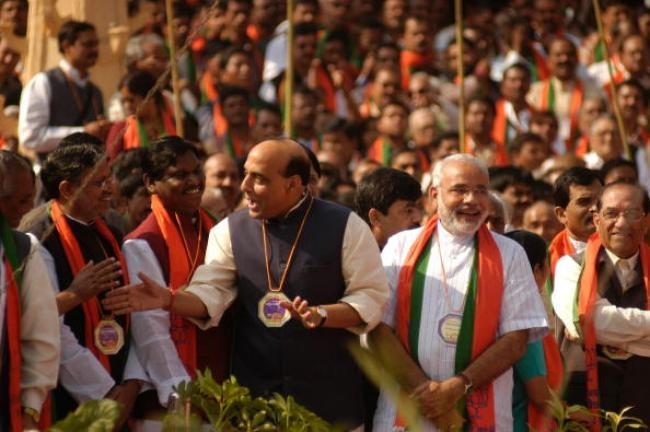 Rajnath Singh with Narendra Modi