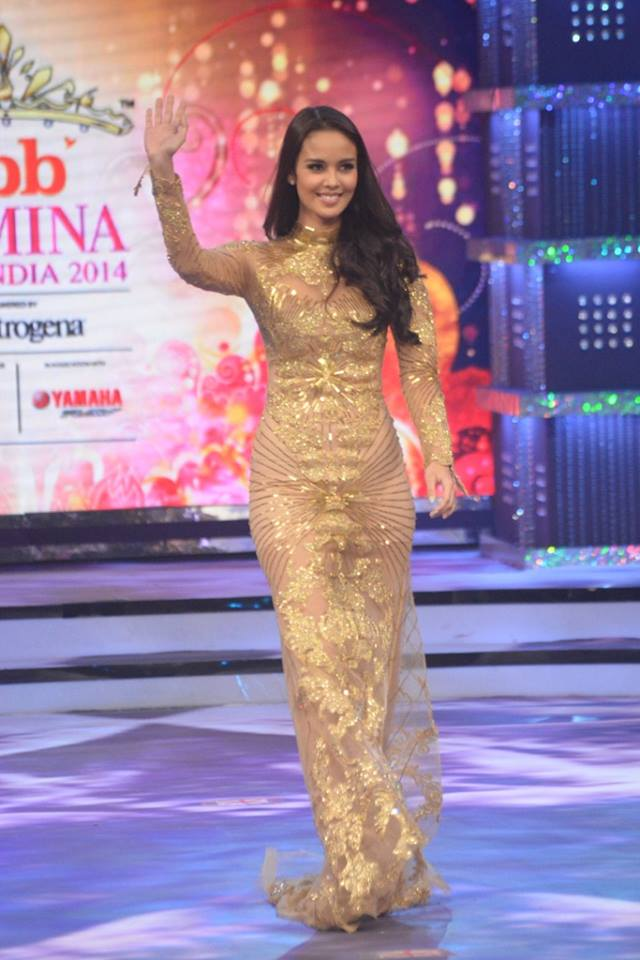 Judge Megan Young on stage at fbb Femina Miss India 2014.
